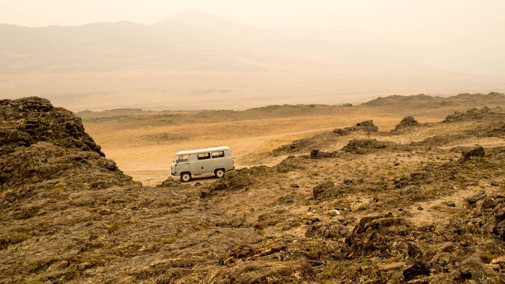 Russian van on Olkhon Island