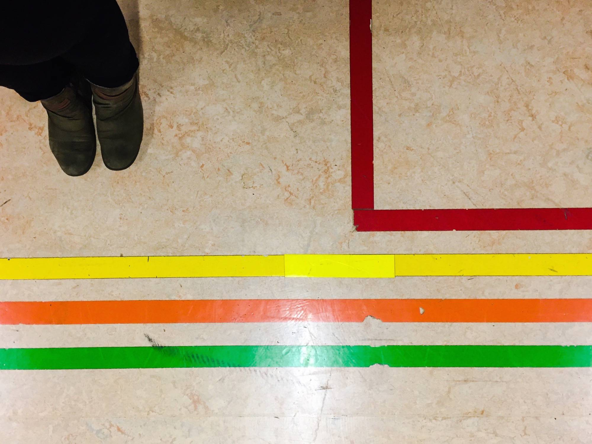 Where to go? Guiding lines on the floor of the hospital.